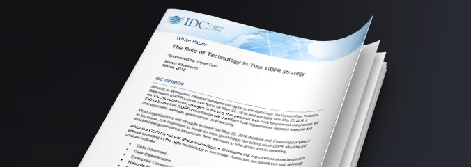 Cover image of the IDC report called The Role of Technology in Your GDPR Strategy.