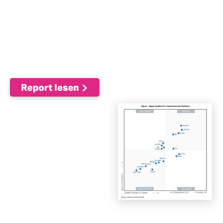 OpenText named a leader again, 2019 Gartner Magic Quadrant for Content Services Platforms. Report lesen.